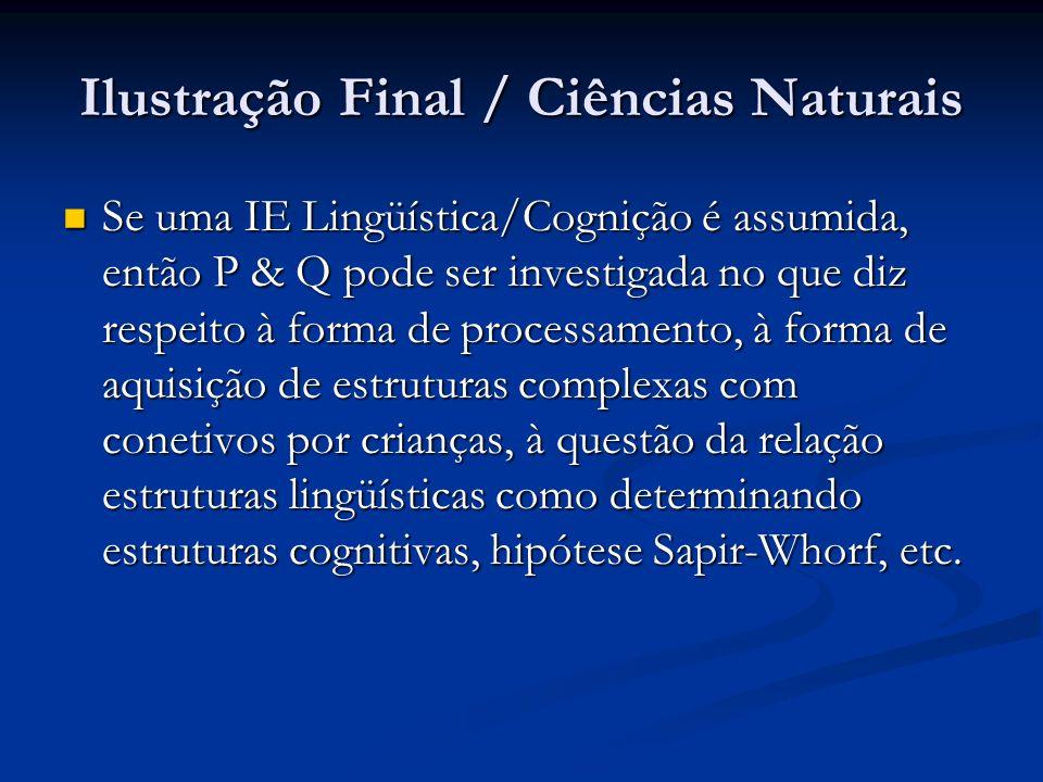 Ilustração Final / Ciências Naturais Se uma IE Lingüística/Cognição é assumida, então P & Q pode ser investigada no que diz respeito à forma de proces