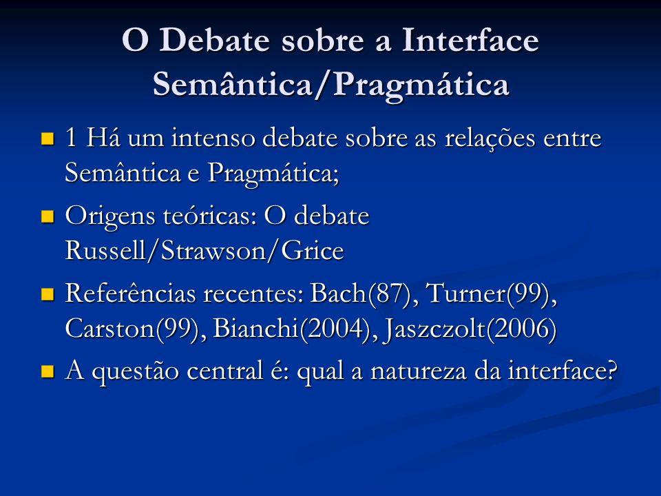 O Debate sobre a Interface Semântica/Pragmática 1 Há um intenso debate sobre as relações entre Semântica e Pragmática; 1 Há um intenso debate sobre as