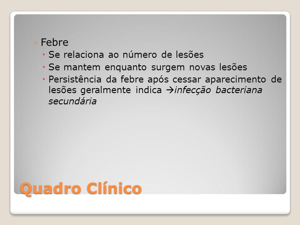 Quadro Clínico Febre Se relaciona ao número de lesões Se mantem enquanto surgem novas lesões Persistência da febre após cessar aparecimento de lesões