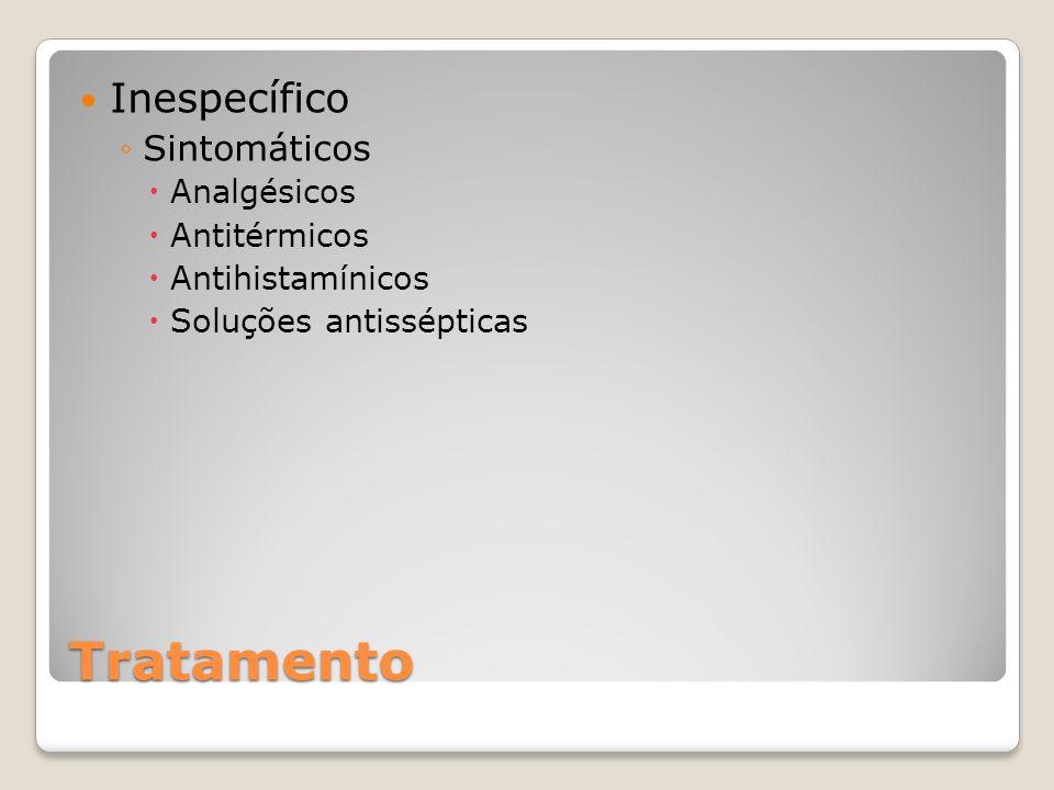 Tratamento Inespecífico Sintomáticos Analgésicos Antitérmicos Antihistamínicos Soluções antissépticas