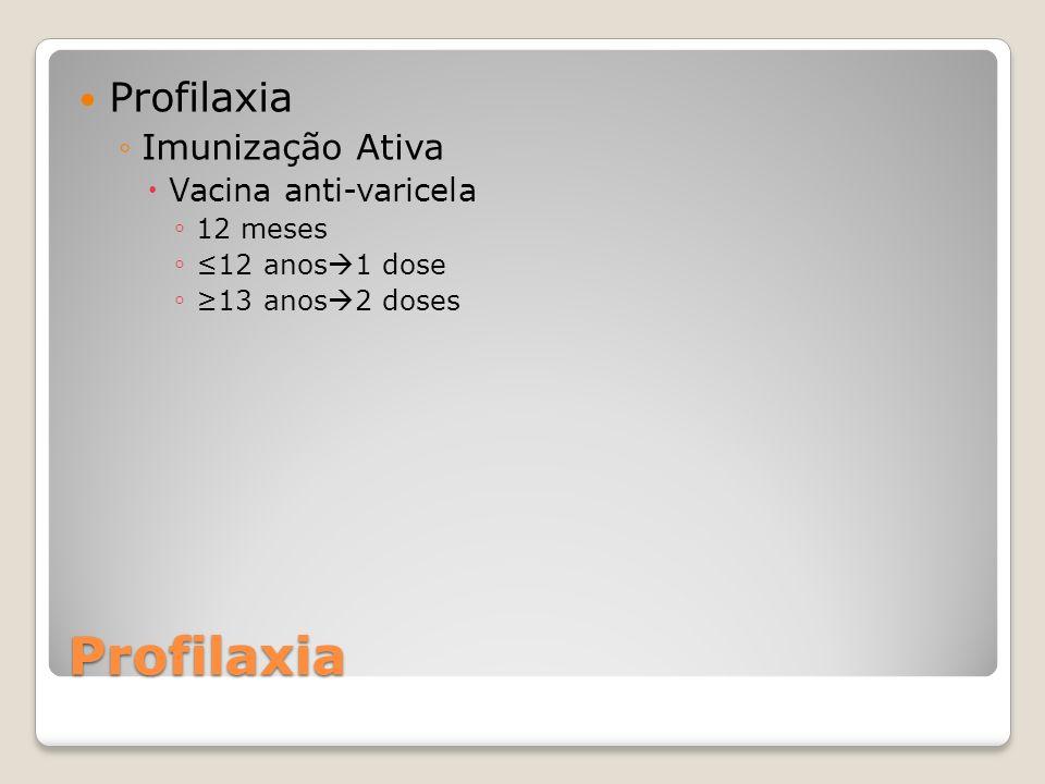Profilaxia Profilaxia Imunização Ativa Vacina anti-varicela 12 meses 12 anos 1 dose 13 anos 2 doses
