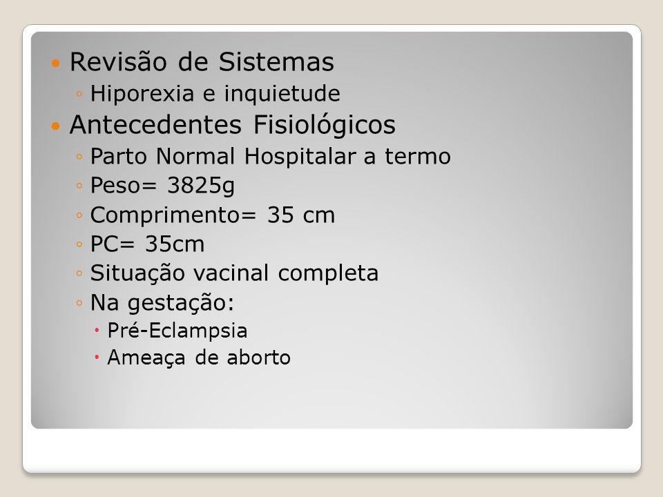 Revisão de Sistemas Hiporexia e inquietude Antecedentes Fisiológicos Parto Normal Hospitalar a termo Peso= 3825g Comprimento= 35 cm PC= 35cm Situação