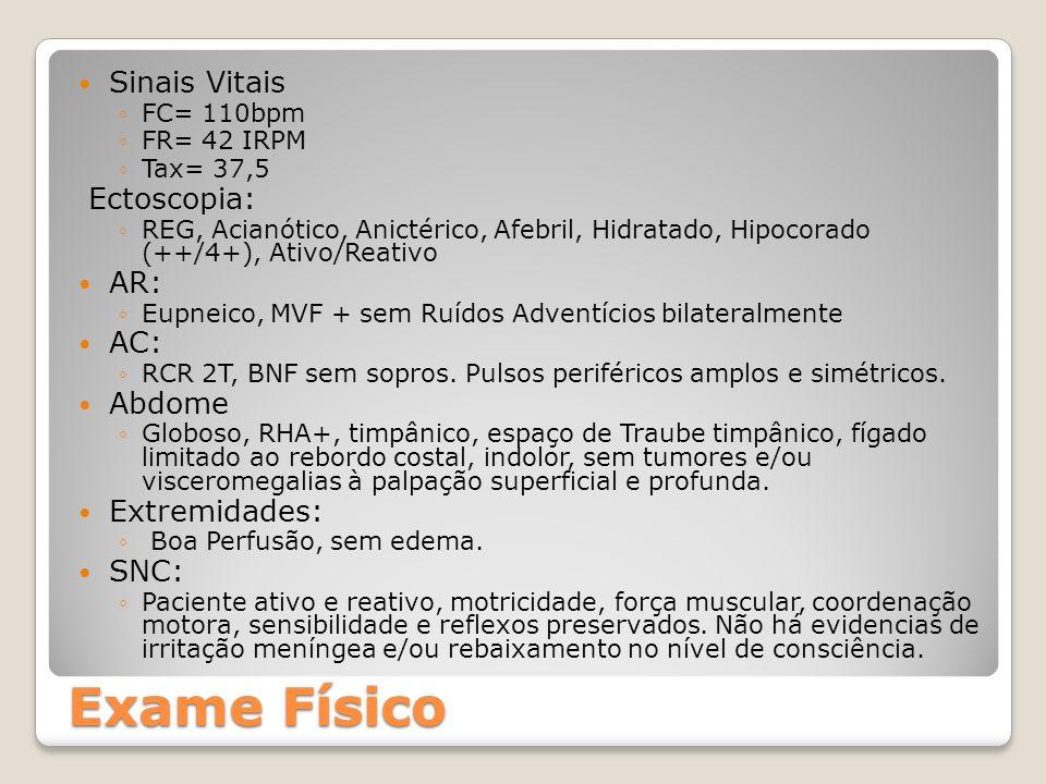 Sinais Vitais FC= 110bpm FR= 42 IRPM Tax= 37,5 Ectoscopia: REG, Acianótico, Anictérico, Afebril, Hidratado, Hipocorado (++/4+), Ativo/Reativo AR: Eupn