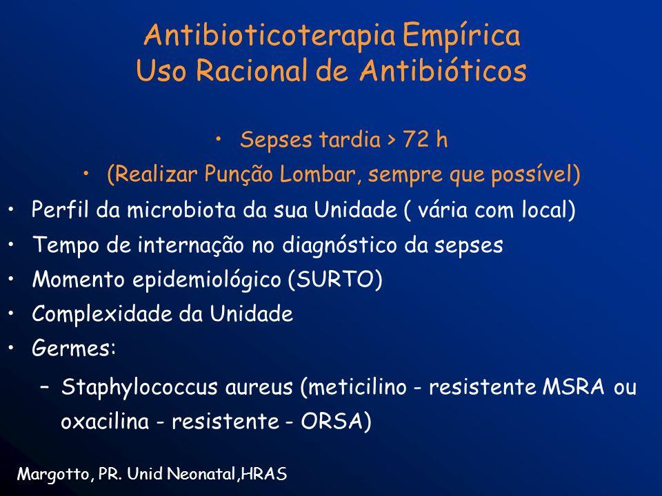 Antibioticoterapia Empírica Uso Racional de Antibióticos Sepses tardia > 72 h (Realizar Punção Lombar, sempre que possível) Perfil da microbiota da su