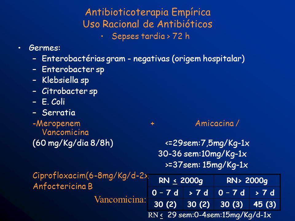 Antibioticoterapia Empírica Uso Racional de Antibióticos Sepses tardia > 72 h Germes: –Enterobactérias gram - negativas (origem hospitalar) –Enterobac