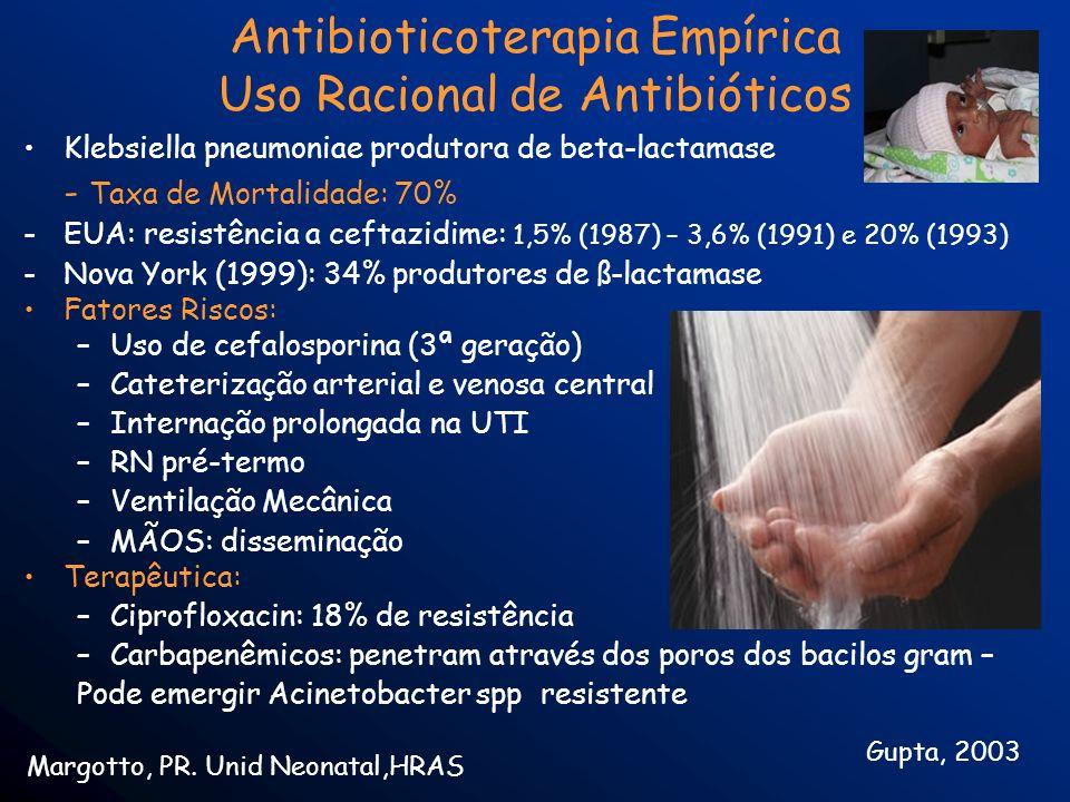 Antibioticoterapia Empírica Uso Racional de Antibióticos Klebsiella pneumoniae produtora de beta-lactamase - Taxa de Mortalidade: 70% -EUA: resistênci