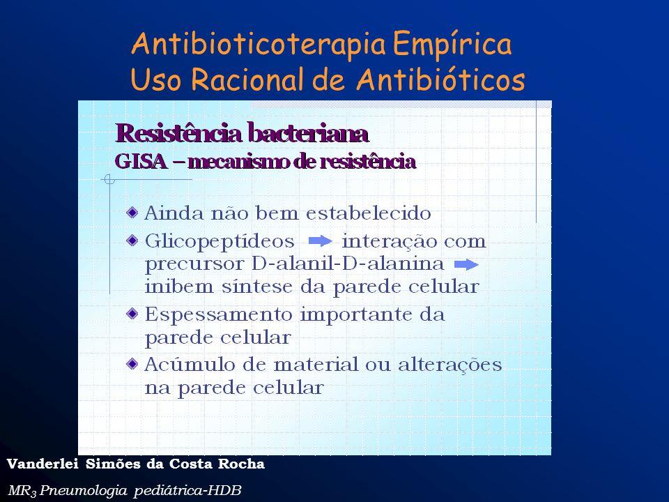 Antibioticoterapia Empírica Uso Racional de Antibióticos Vanderlei Simões da Costa Rocha MR 3 Pneumologia pediátrica-HDB