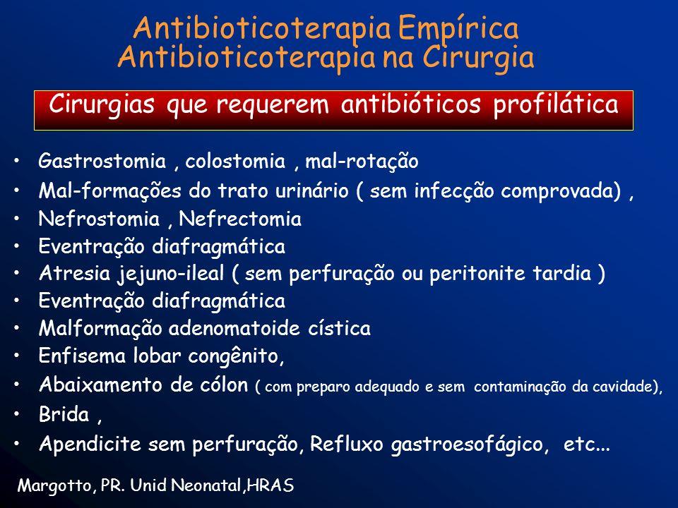 Antibioticoterapia Empírica Antibioticoterapia na Cirurgia Margotto, PR. Unid Neonatal,HRAS Cirurgias que requerem antibióticos profilática Gastrostom