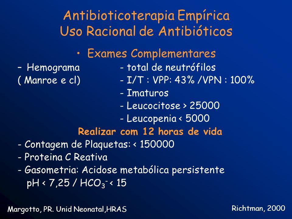 Antibioticoterapia Empírica Uso Racional de Antibióticos Exames Complementares –Hemograma - total de neutrófilos ( Manroe e cl)- I/T : VPP: 43% /VPN :