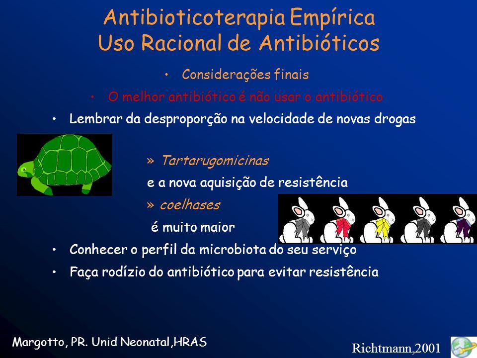 Considerações finais O melhor antibiótico é não usar o antibiótico Lembrar da desproporção na velocidade de novas drogas - »Tartarugomicinas e a nova