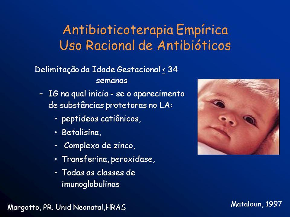 Antibioticoterapia Empírica Uso Racional de Antibióticos Delimitação da Idade Gestacional < 34 semanas –IG na qual inicia - se o aparecimento de subst