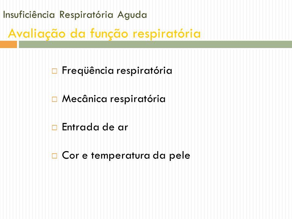 Insuficiência Respiratória Aguda Avaliação da função respiratória Freqüência respiratória Mecânica respiratória Entrada de ar Cor e temperatura da pel