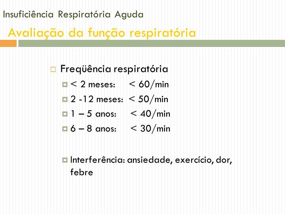 Insuficiência Respiratória Aguda Avaliação da função respiratória Freqüência respiratória < 2 meses: < 60/min 2 -12 meses: < 50/min 1 – 5 anos: < 40/m