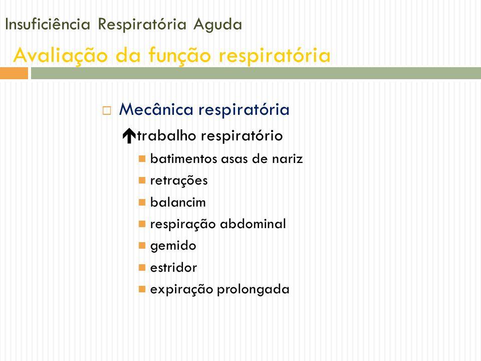 Insuficiência Respiratória Aguda Avaliação da função respiratória Mecânica respiratória trabalho respiratório batimentos asas de nariz retrações balan