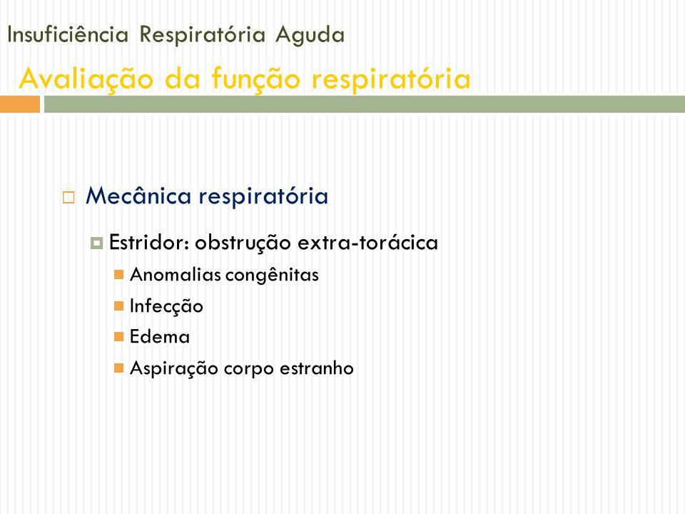 Insuficiência Respiratória Aguda Avaliação da função respiratória Mecânica respiratória Estridor: obstrução extra-torácica Anomalias congênitas Infecç