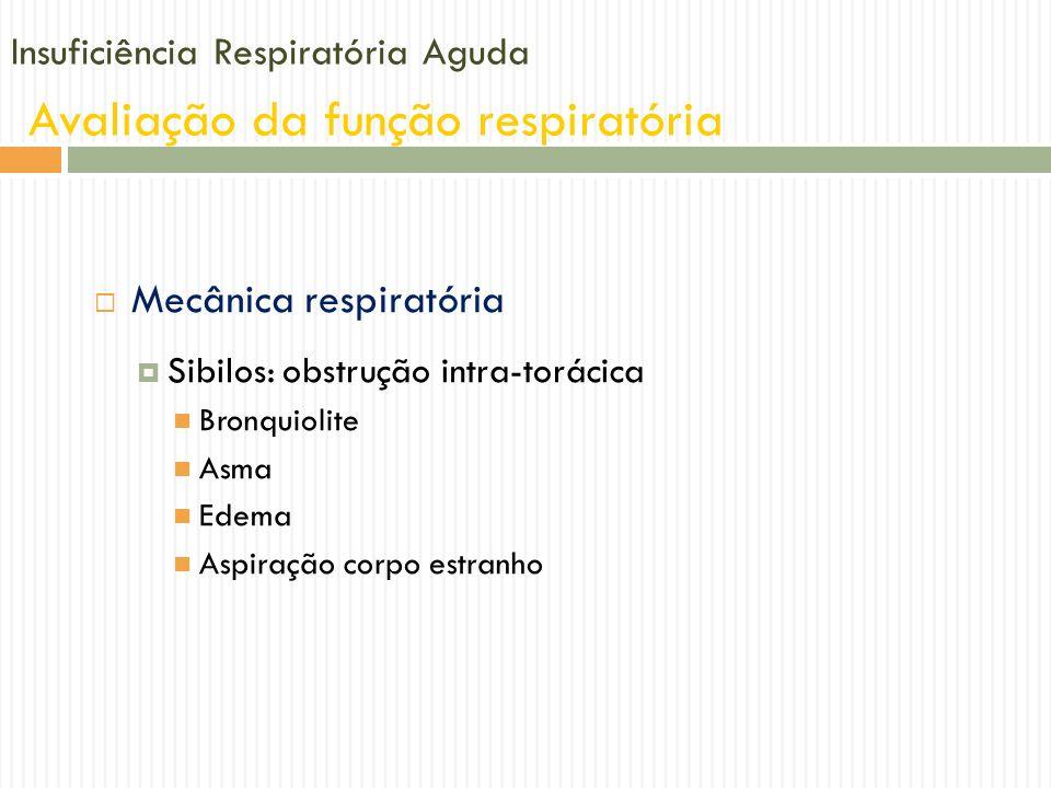 Insuficiência Respiratória Aguda Avaliação da função respiratória Mecânica respiratória Sibilos: obstrução intra-torácica Bronquiolite Asma Edema Aspi