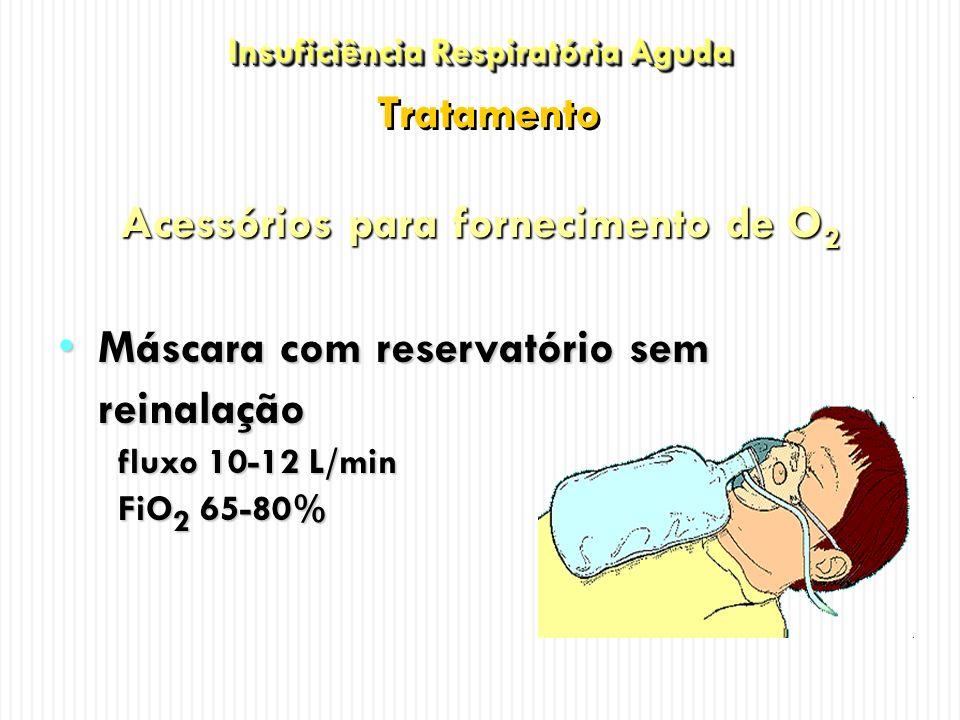 Acessórios para fornecimento de O 2 Máscara com reservatório sem reinalaçãoMáscara com reservatório sem reinalação fluxo 10-12 L/min FiO 2 65-80% Insu