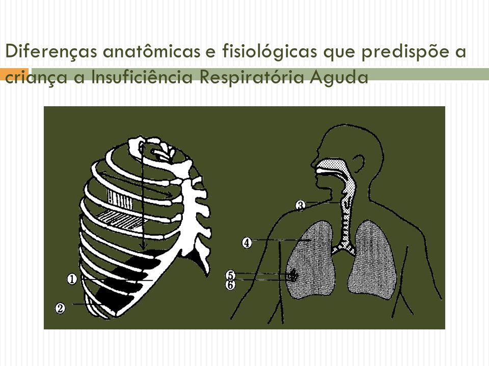 Via aérea em menor número Via aérea de menor calibre Resistência da via aérea Resistência da via aérea RN – 30 a 50 cmH 2 O/l/seg (intubado- 100 a 150 cmH 2 O/l/seg)RN – 30 a 50 cmH 2 O/l/seg (intubado- 100 a 150 cmH 2 O/l/seg) Adulto- 1,5 cmH 2 O/l/seg (intubado- 4,5 a 6 cmH 2 O/l/seg)Adulto- 1,5 cmH 2 O/l/seg (intubado- 4,5 a 6 cmH 2 O/l/seg)