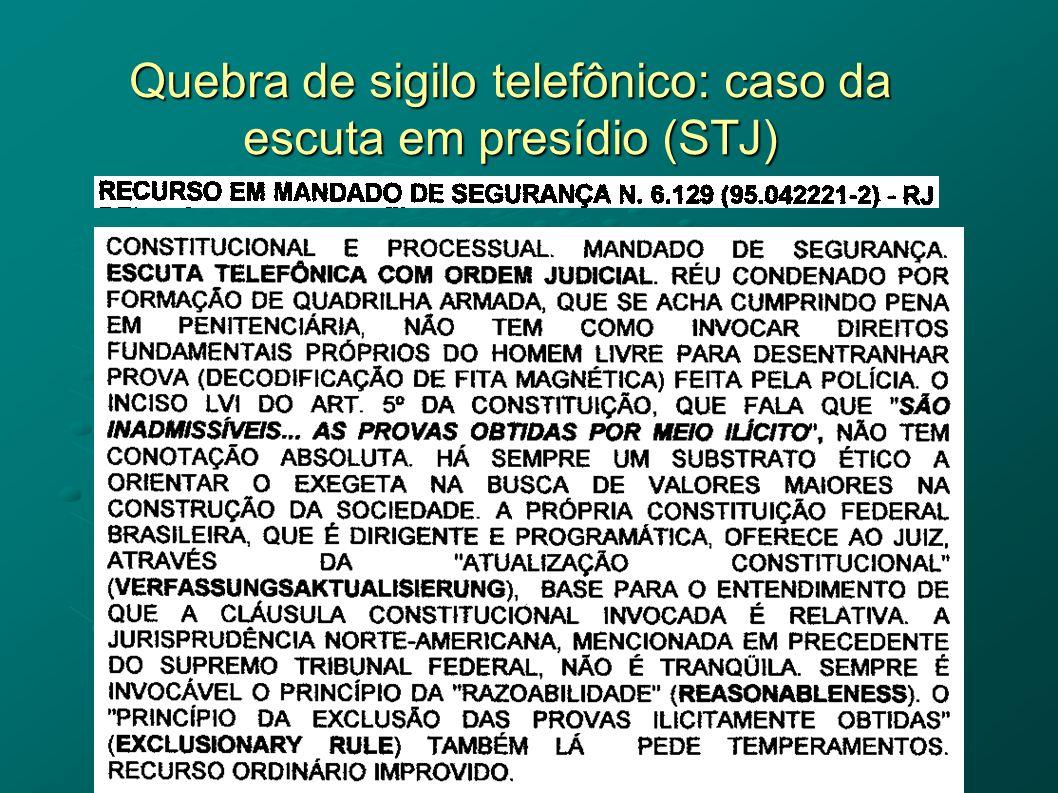 Quebra de sigilo telefônico: caso da escuta em presídio (STJ)