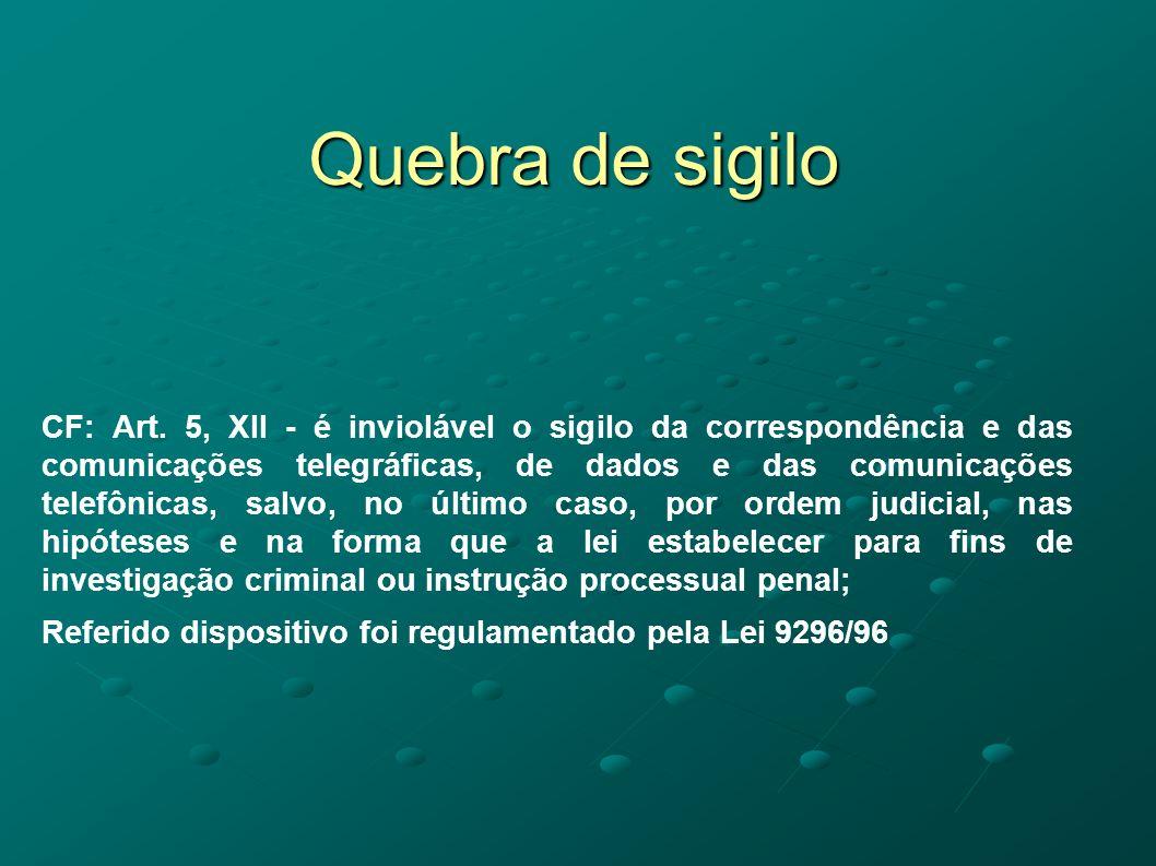 Quebra de sigilo CF: Art. 5, XII - é inviolável o sigilo da correspondência e das comunicações telegráficas, de dados e das comunicações telefônicas,