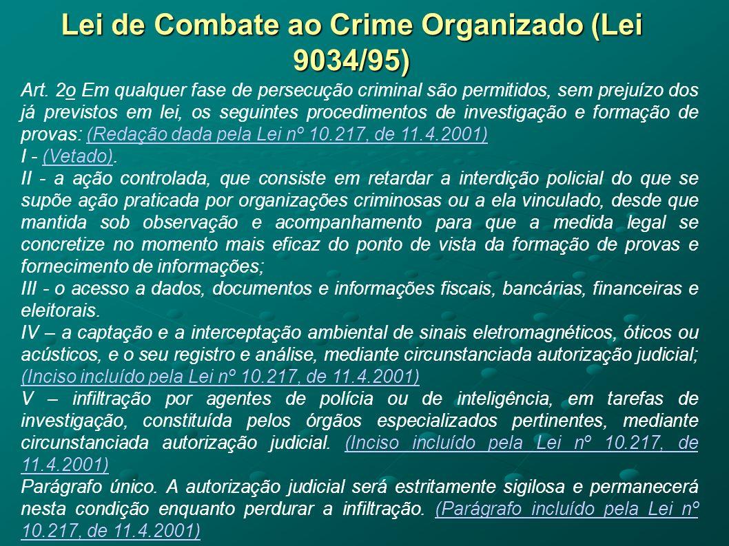 Lei de Combate ao Crime Organizado (Lei 9034/95) Art. 2o Em qualquer fase de persecução criminal são permitidos, sem prejuízo dos já previstos em lei,