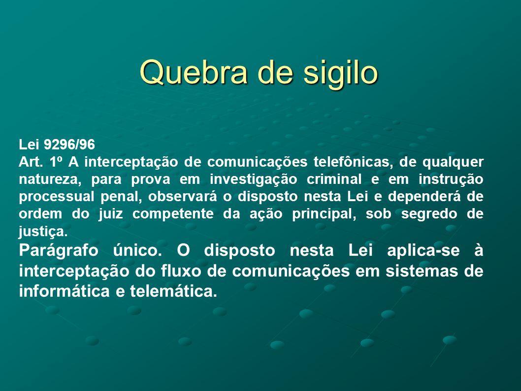 Quebra de sigilo Lei 9296/96 Art. 1º A interceptação de comunicações telefônicas, de qualquer natureza, para prova em investigação criminal e em instr