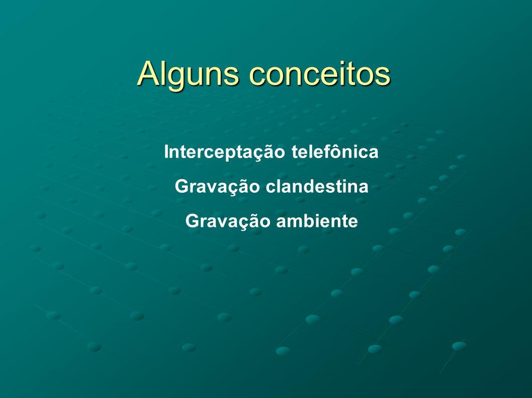 Alguns conceitos Interceptação telefônica Gravação clandestina Gravação ambiente