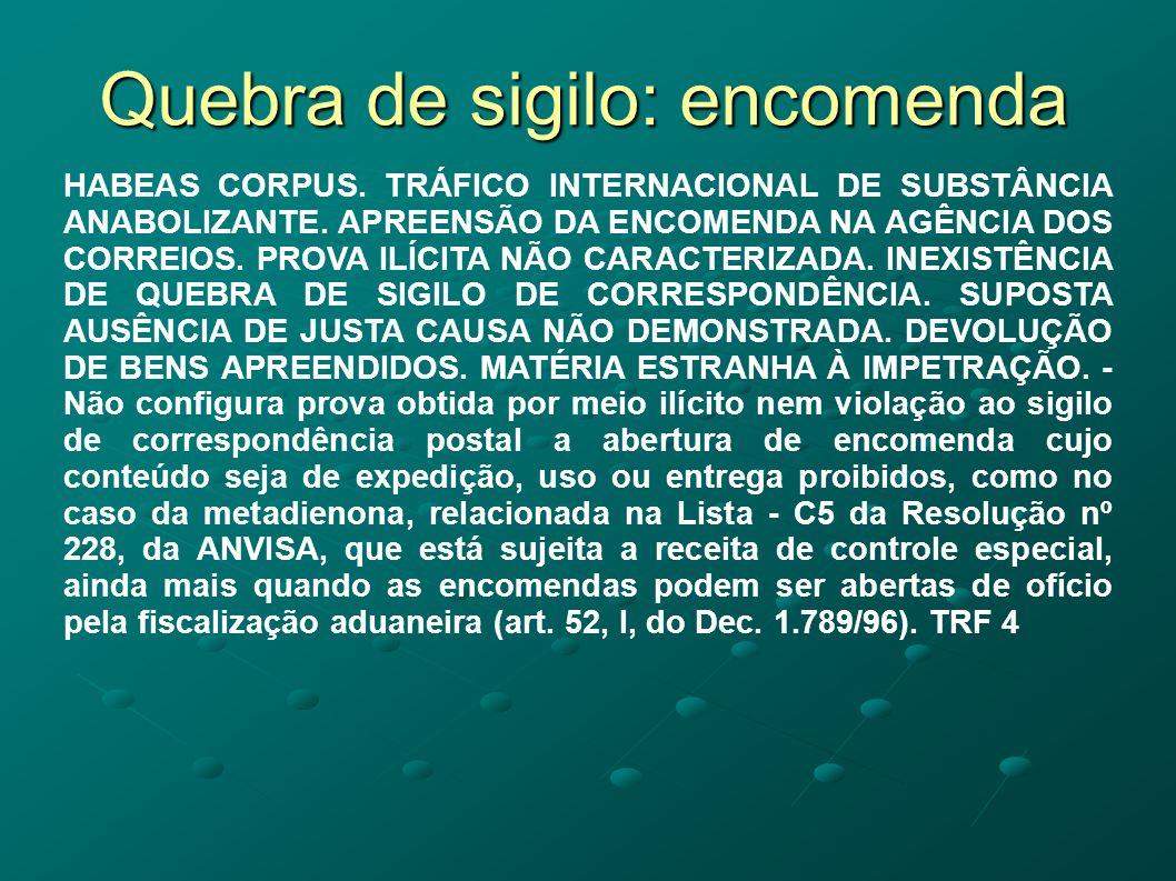 Quebra de sigilo: encomenda HABEAS CORPUS. TRÁFICO INTERNACIONAL DE SUBSTÂNCIA ANABOLIZANTE. APREENSÃO DA ENCOMENDA NA AGÊNCIA DOS CORREIOS. PROVA ILÍ