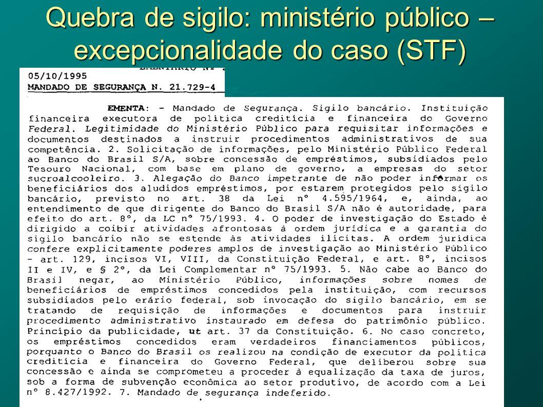 Quebra de sigilo: ministério público – excepcionalidade do caso (STF)