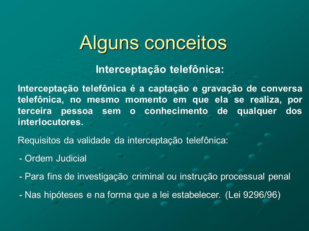 Alguns conceitos Interceptação telefônica: Interceptação telefônica é a captação e gravação de conversa telefônica, no mesmo momento em que ela se rea