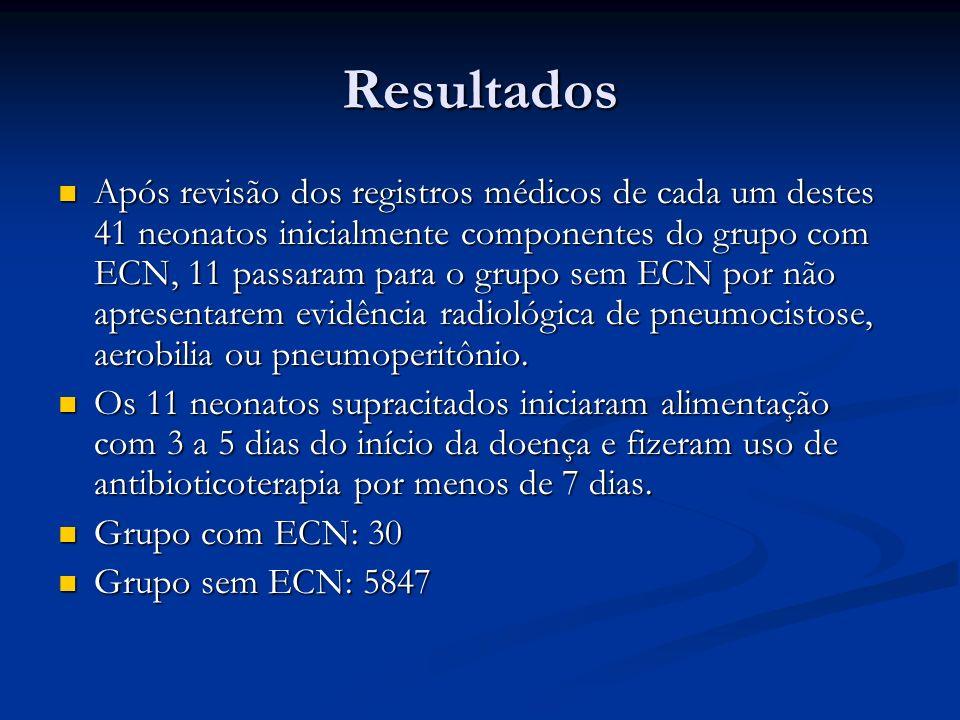 Resultados Após revisão dos registros médicos de cada um destes 41 neonatos inicialmente componentes do grupo com ECN, 11 passaram para o grupo sem EC