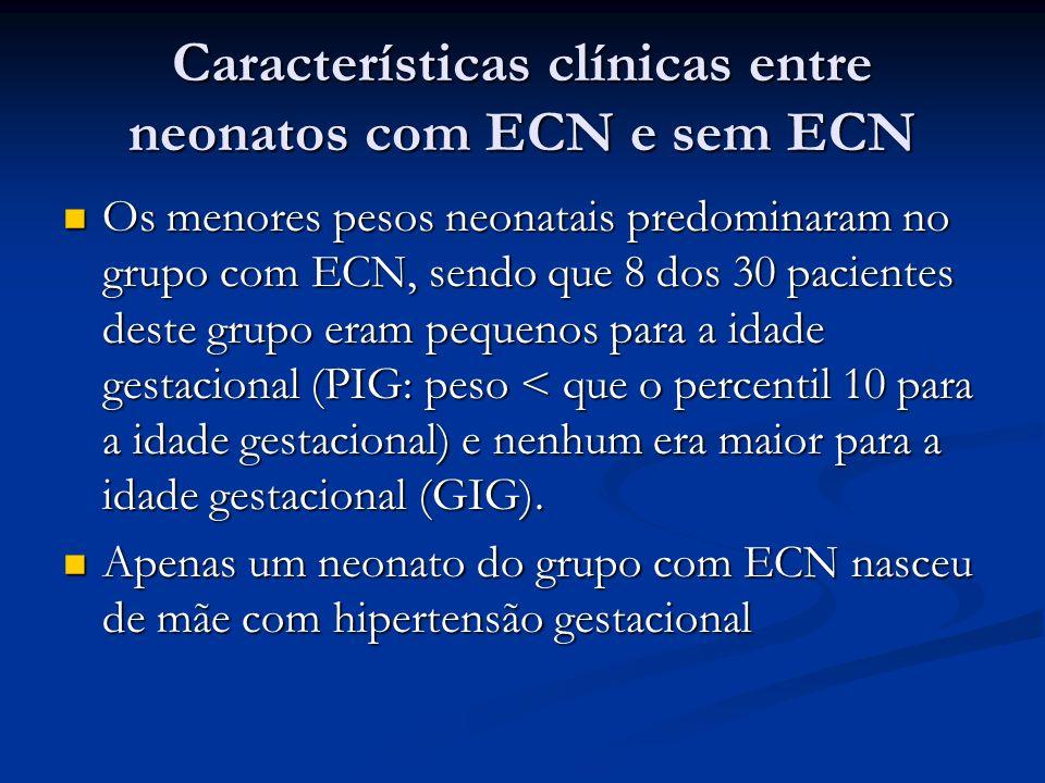 Características clínicas entre neonatos com ECN e sem ECN Os menores pesos neonatais predominaram no grupo com ECN, sendo que 8 dos 30 pacientes deste