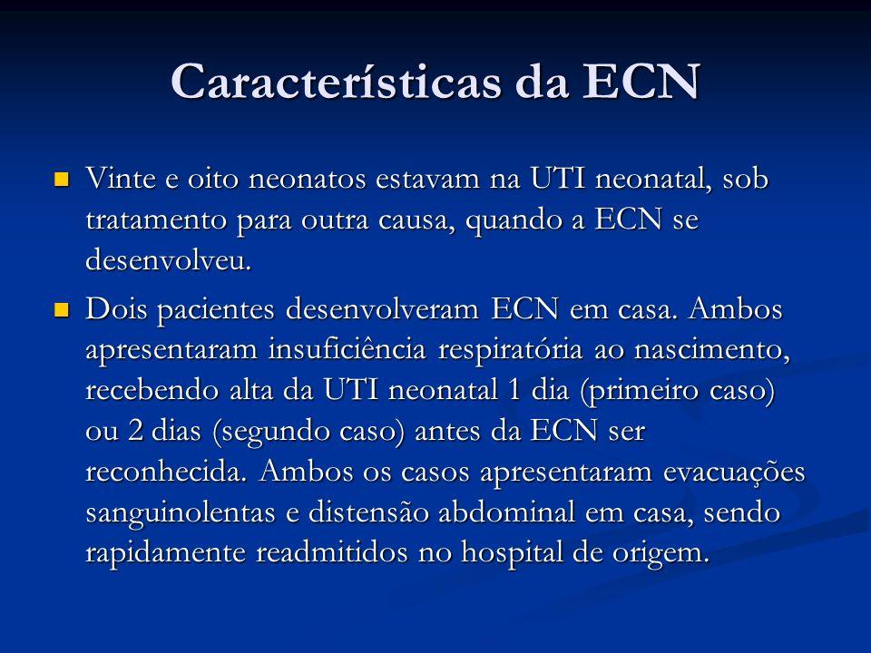 Vinte e oito neonatos estavam na UTI neonatal, sob tratamento para outra causa, quando a ECN se desenvolveu. Vinte e oito neonatos estavam na UTI neon