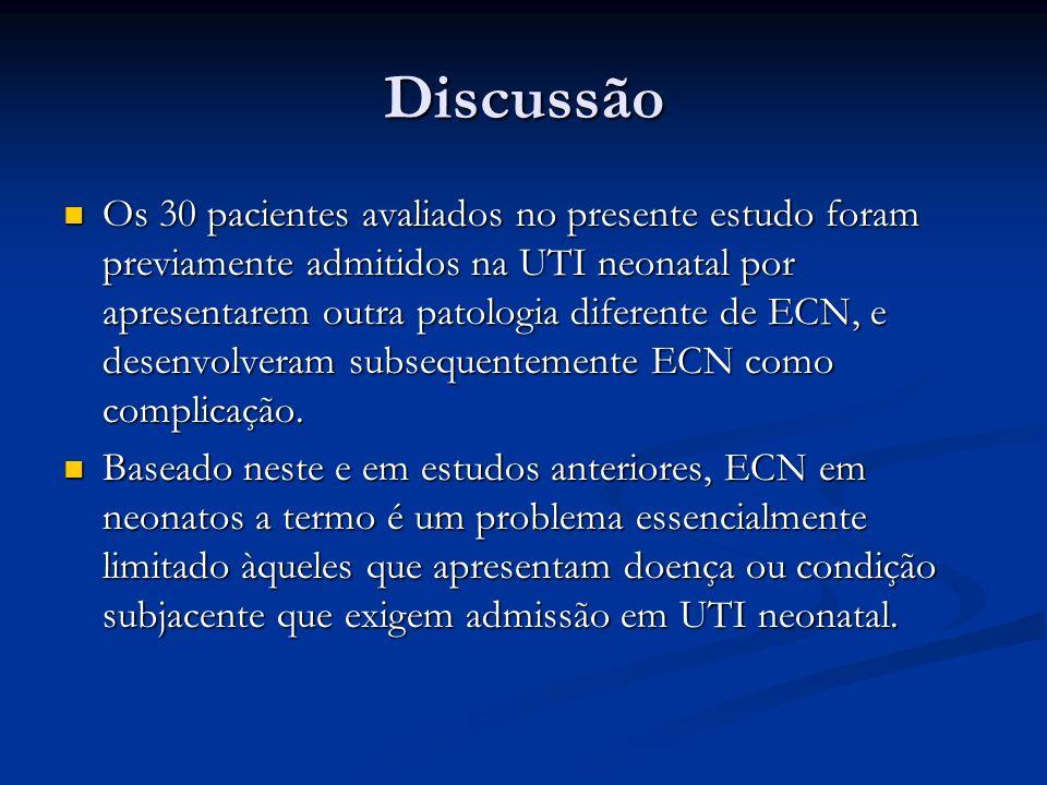 Discussão Os 30 pacientes avaliados no presente estudo foram previamente admitidos na UTI neonatal por apresentarem outra patologia diferente de ECN,