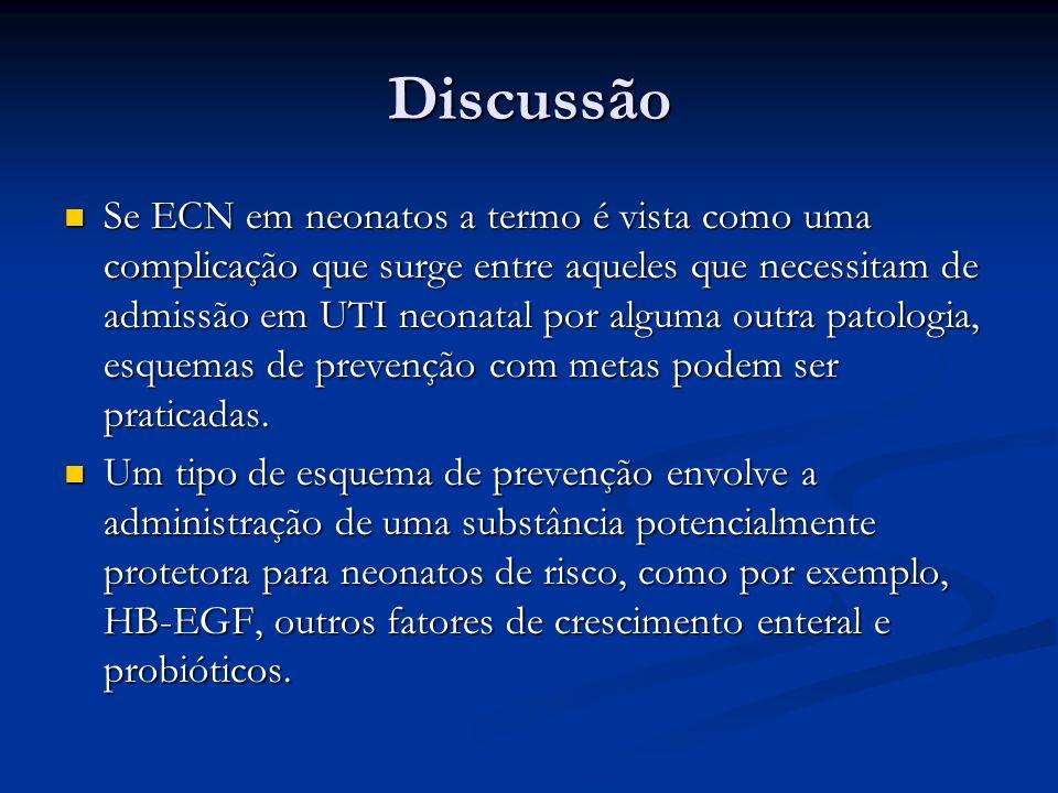 Discussão Se ECN em neonatos a termo é vista como uma complicação que surge entre aqueles que necessitam de admissão em UTI neonatal por alguma outra