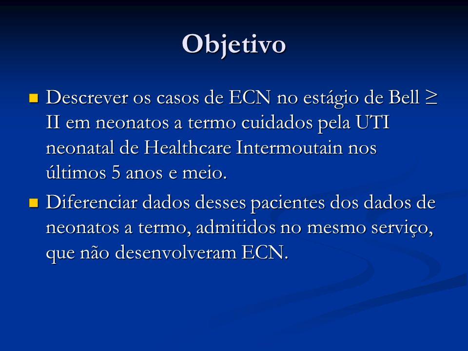 Objetivo Descrever os casos de ECN no estágio de Bell II em neonatos a termo cuidados pela UTI neonatal de Healthcare Intermoutain nos últimos 5 anos