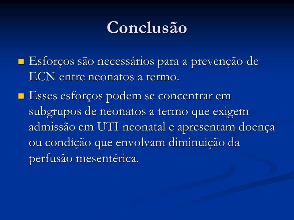 Conclusão Esforços são necessários para a prevenção de ECN entre neonatos a termo. Esforços são necessários para a prevenção de ECN entre neonatos a t