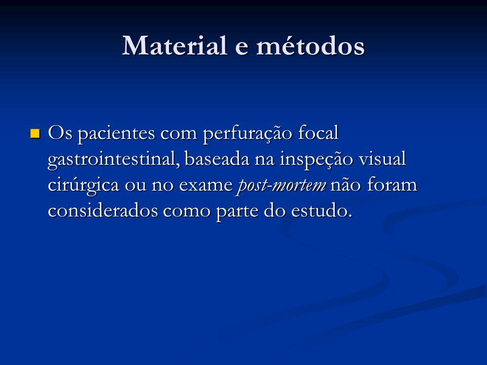 Material e métodos Os pacientes com perfuração focal gastrointestinal, baseada na inspeção visual cirúrgica ou no exame post-mortem não foram consider