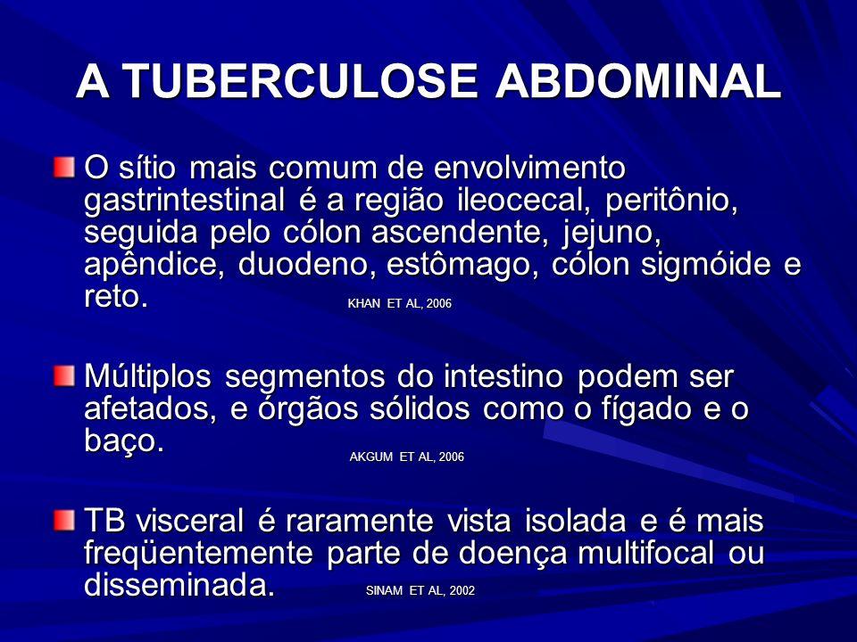 A TUBERCULOSE ABDOMINAL É mais comum em pacientes de 25-45 anos de idade, atinge ambos os sexos em igual proporção. São raros os relatos na faixa etár