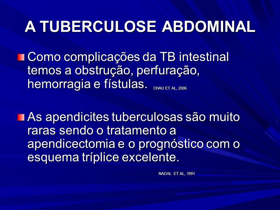 A TUBERCULOSE ABDOMINAL As lesões intestinais são encontradas associadas à forma pulmonar em 70 a 87%. Vários autores referem a presença de três forma