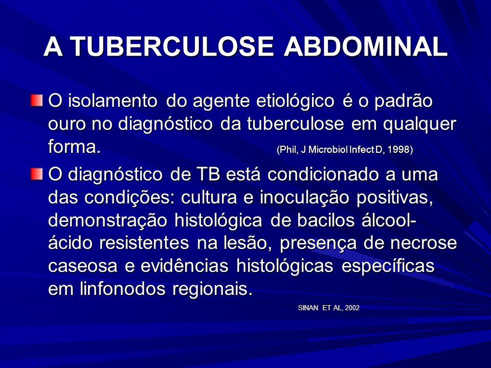 A TUBERCULOSE ABDOMINAL Os sinais e sintomas da TB abdominal são: dor abdominal, anorexia, emagrecimento, dispnéia, descompressão brusca dolorosa, vôm