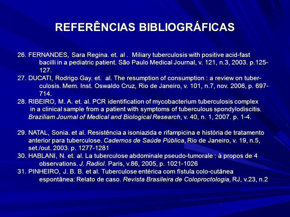 REFERÊNCIAS BIBLIOGRÁFICAS 19. COVIC, Adrian. et. al. Rifampicin-induced acute renal failure : a series of 60 patients. Nephrol. Dial. Transplant, v.