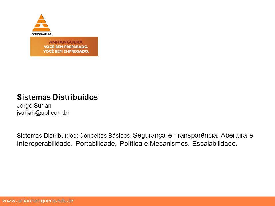Sistemas Distribuídos Jorge Surian jsurian@uol.com.br Sistemas Distribuídos: Conceitos Básicos. Segurança e Transparência. Abertura e Interoperabilida