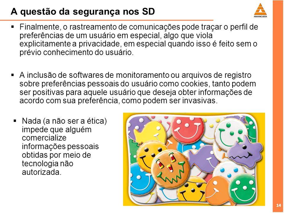 14 A questão da segurança nos SD Finalmente, o rastreamento de comunicações pode traçar o perfil de preferências de um usuário em especial, algo que v