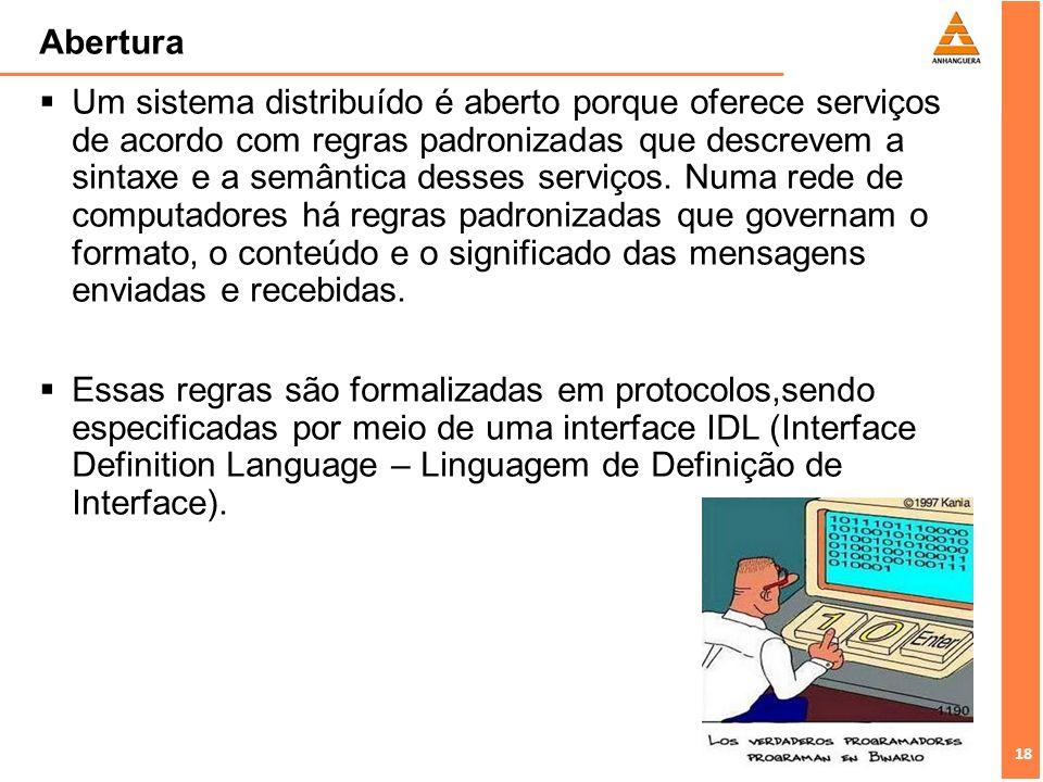 18 Abertura Um sistema distribuído é aberto porque oferece serviços de acordo com regras padronizadas que descrevem a sintaxe e a semântica desses ser