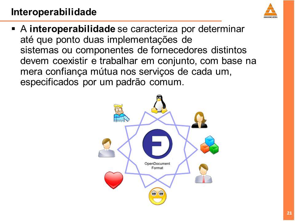 21 Interoperabilidade A interoperabilidade se caracteriza por determinar até que ponto duas implementações de sistemas ou componentes de fornecedores