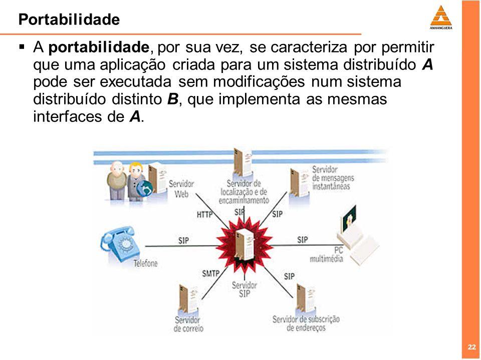 22 Portabilidade A portabilidade, por sua vez, se caracteriza por permitir que uma aplicação criada para um sistema distribuído A pode ser executada s