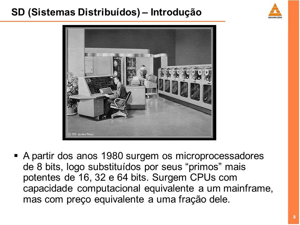 3 3 SD (Sistemas Distribuídos) – Introdução 3 A partir dos anos 1980 surgem os microprocessadores de 8 bits, logo substituídos por seus primos mais po