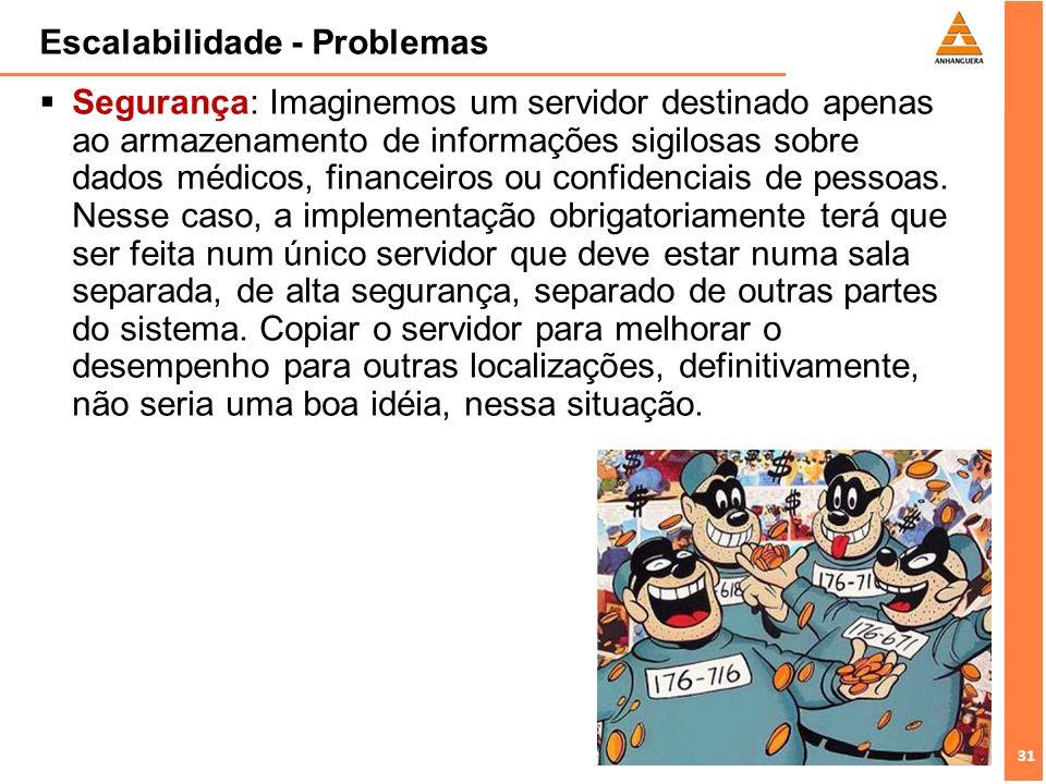 31 Escalabilidade - Problemas Segurança: Imaginemos um servidor destinado apenas ao armazenamento de informações sigilosas sobre dados médicos, financ