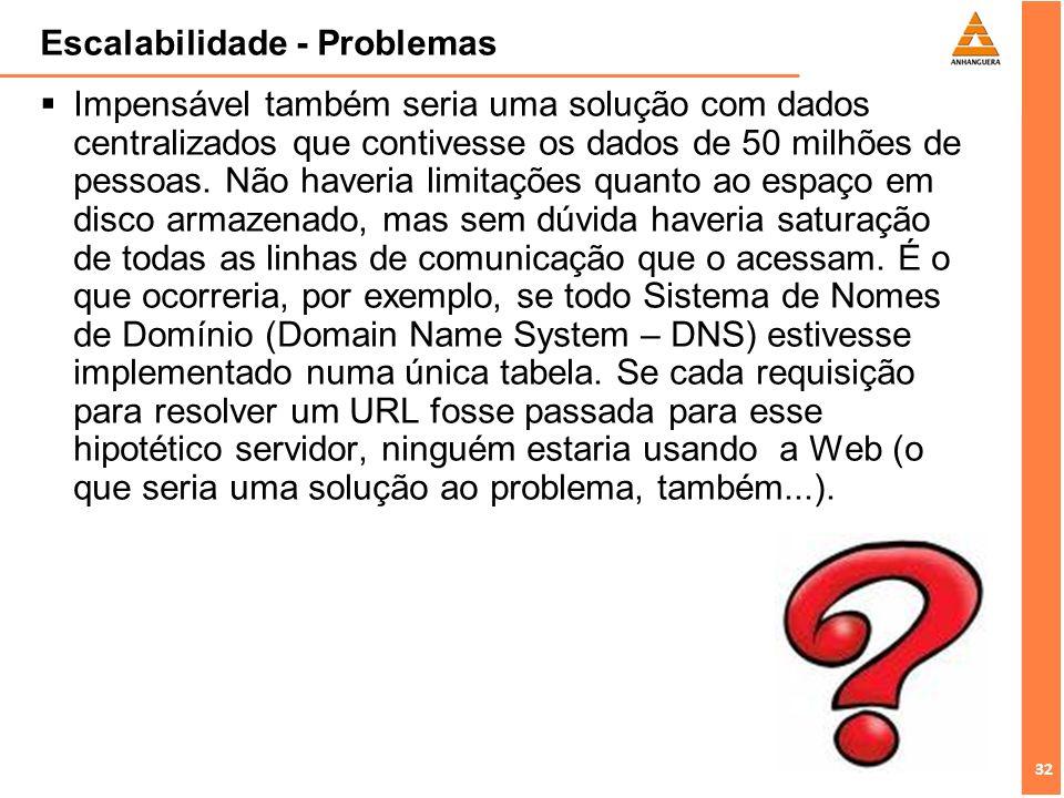 32 Escalabilidade - Problemas Impensável também seria uma solução com dados centralizados que contivesse os dados de 50 milhões de pessoas. Não haveri